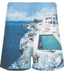 orlebar brown bulldog hulton print swim shorts - blue
