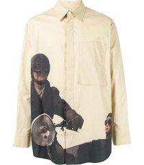 wooyoungmi motorcycle-print shirt - neutrals