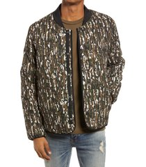 men's topman men's camouflage quilted liner jacket, size x-small - green
