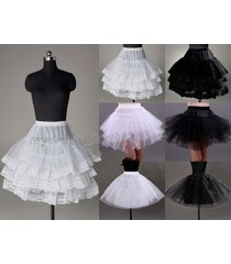 new 3 layer white/black short petticoat bridal dress underskirt prom petticoat