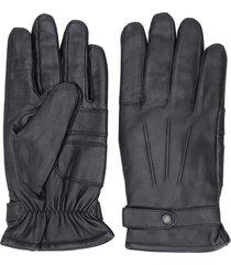 barbour burnished leather gloves - black