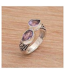 amethyst cocktail ring, 'temple tears' (indonesia)