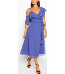 chiffon cold shoulder wrap midi skater dress, navy