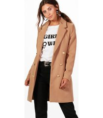 petite double breasted military duster coat, camel
