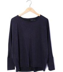 blusa amplia con cortes  tela  washed para mujer color siete - gris