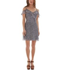 bcx juniors' floral-print cold-shoulder ruffled dress