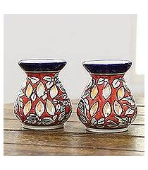 ceramic oil warmers, 'floral scent' (pair) (india)