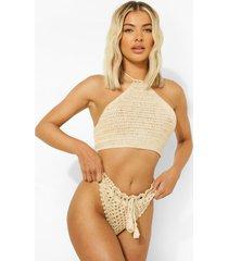 gehaakte bikini top met halter neck, stone
