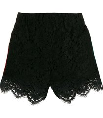 gucci lace trimmed shorts - black