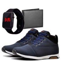 sapatênis urbano com carteira e relógio led dubuy 1101db azul
