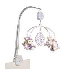 móbile musical ursinha de tiara lillás potinho de mel lilás