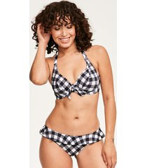 totally check non padded banded halter bikini top