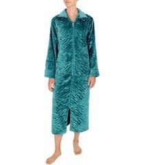 miss elaine sculptured french fleece long zipper robe