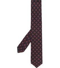 barba geometric embroidered silk tie - blue