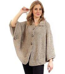 poncho feminino de tricô mesclado sumaré 31103 - feminino