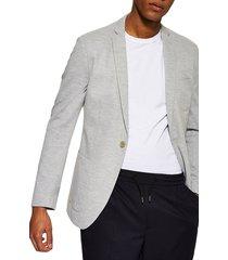men's topman classic fit jersey blazer, size 48r - grey