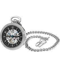 stuhrling women's silver tone stainless steel chain pocket watch 48mm
