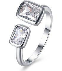 anello di apertura semplice dell'anello dell'argento del platino del rhinestone d'argento per il regalo delle donne