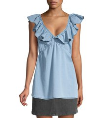 french connection women's ruffled chambray top - light blue - size 10