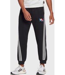 pantalón de buzo adidas performance uni graphic pt negro - calce regular