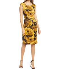 women's connected apparel floral print cap sleeve sheath dress, size 16 - yellow