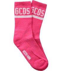 gcds fuchsia socks with logo for girl