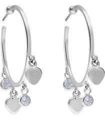 orecchini a cerchio in argento rodiato con cuori e zirconi per donna