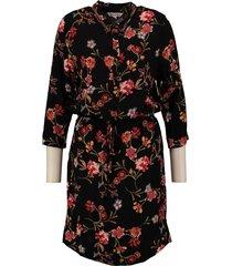 garcia soepele zwarte blouse jurk van stevig viscose 3/4 mouw