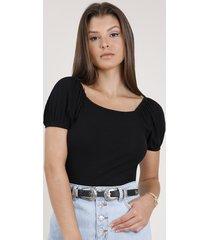 blusa feminina canelada manga bufante decote reto preta
