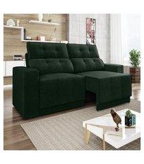 sofá 4 lugares net jaguar assento retrátil e reclinável verde 2,30m (l)