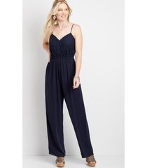 maurices womens blue lace bodice paperbag waist jumpsuit