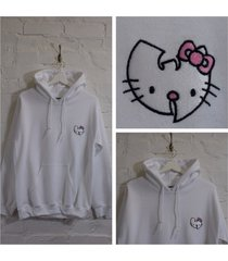 actual fact wu x hello kitty japanese cartoon white hooded sweatshirt hoodie