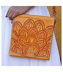 leather handbag, 'peacock in the sun' (mexico)