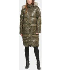 dkny oversized faux-fur-trim puffer coat