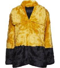 sebille faux fur clrblock coat outerwear faux fur geel french connection