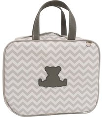 bolsa maternidade chevron cinza com urso alinhado baby - tam p