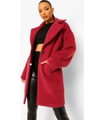 tall luxe getextuurde nepwollen jas, pink