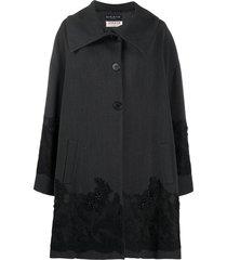 a.n.g.e.l.o. vintage cult 1990s lace appliqué knee-length coat - grey