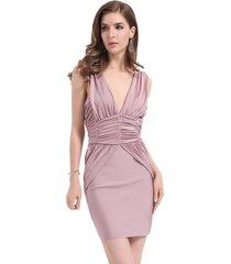 vestido drapeado rosa nicopoly