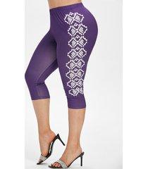 geometric print high waisted plus size capri leggings