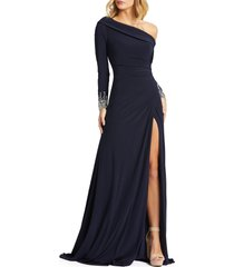 women's mac duggal one-shoulder long sleeve jersey gown, size 2 - blue