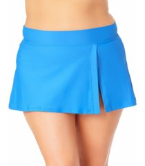 anne cole plus size banded side slit skirted bottoms women's swimsuit