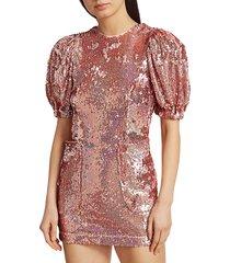 rotate birger christensen women's katie puff sleeve sequin mini dress - metallic pink - size xs