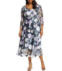 plus size women's komarov watercolor print chiffon cocktail dress