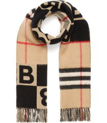 check logo wool-cashmere blend scarf