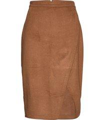 anf womens skirts knälång kjol brun abercrombie & fitch
