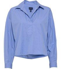 d1. popover rugger solid shirt overhemd met lange mouwen blauw gant