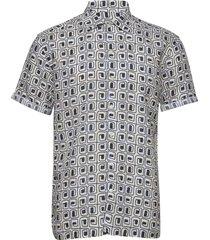 block print linen resort shirt kortärmad skjorta multi/mönstrad eton