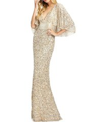 mac duggal women's capelet sequin sheath gown - nude gold - size 6