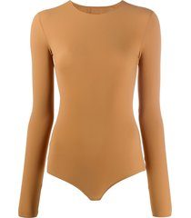 maison margiela long-sleeve fitted bodysuit - neutrals